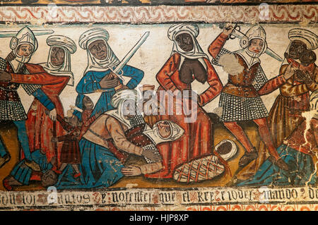 Massacre of the Innocents - fresco paintings of the 15th century, Cathedral, Mondoñedo, Lugo province, Region of - Stock Photo