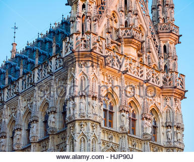 Leuven Stadhuis (City Hall) and buildings on Grote Markt, Leuven, Flemish Brabant, Flanders, Belgium - Stock Photo