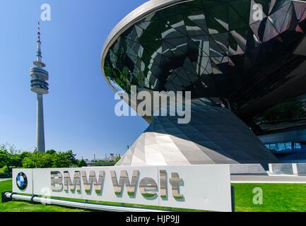 München, Munich: BMW Welt (world) exhibition, Oberbayern, Upper Bavaria, Bayern, Bavaria, Germany - Stock Photo