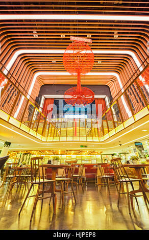 Platea Madrid, a gourmet food hall located in a former cinema on the Plaza de Colon. Madrid, Spain. - Stock Photo