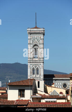 tower, bell, florence, tower, detail, religion, church, monument, art, statue, - Stock Photo