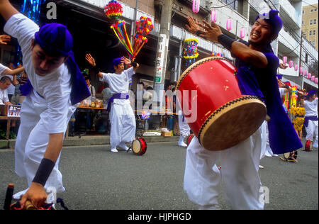 Asakusa. Shitamachi Tanabata festival (july). Drummers in traditional dance.Tokyo city, Japan, Asia - Stock Photo