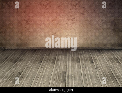 Empty room with dirty floorboards  and outmoded wallpaper - Stock Photo