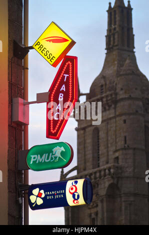 French tobacconist and newsagent and lottery signs  on a street corner - Stock Photo