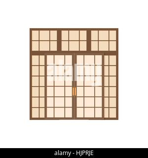 Double door icon in cartoon style on a white background - Stock Photo