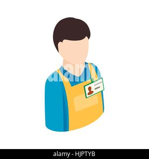 Warehouse worker icon in isometric 3d style on a white background - Stock Photo