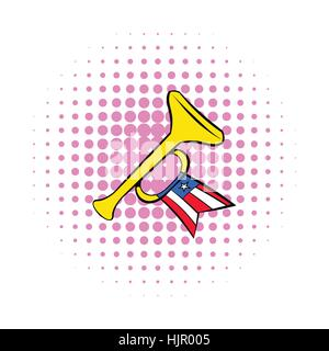 Trumpet with USA flag icon in comics style on a white background - Stock Photo