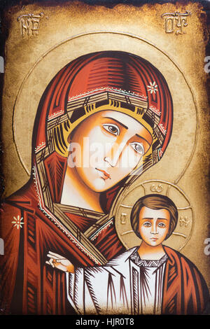 Bratislava, Slovakia, 2017/01/23. Byzantine icon of Mary the Mother of God with her son Jesus blessing with his - Stock Photo