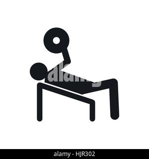 Man trains in the gym bar bench press icon in simple style on a white background - Stock Photo