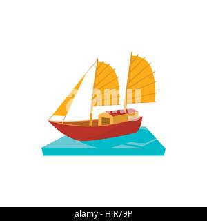 Vietnamese boat icon in cartoon style on a white background - Stock Photo