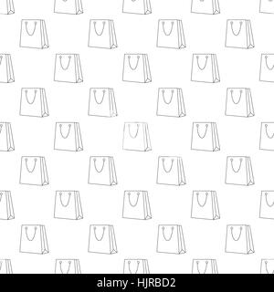 Shopping bag pattern seamless black for any design - Stock Photo