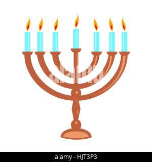 Jewish menorah isolated on white. Symbol holiday Hanukkah. - Stock Photo