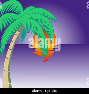 Summer holidays background. Seaside View Poster. Vector beach resort wallpaper - Stock Photo