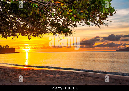 Sunset of the Seychelles, Island Mahé - Stock Photo