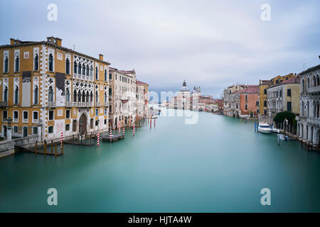 Italy, Venice, view to Canal Grande  from Academia Bridge at twilight - Stock Photo