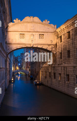 Early morning twilight over Ponte dei Sospiri - Bridge of Sighs, Venice, Veneto, Italy - Stock Photo