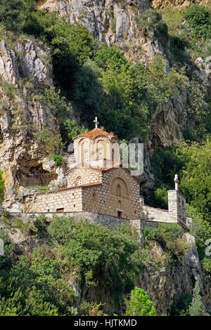 Holy Trinity 14th century Orthodox Church overlooking Berat, Albania. - Stock Photo