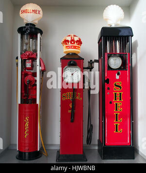 Old Shell petrol pumps at the Louwman museum pic1 - Stock Photo