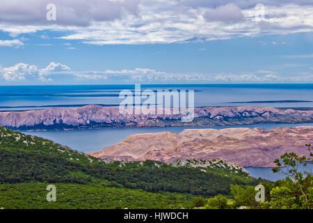 Croatian islands (Pag, Vir, Maun, Olib, Silba, Premuda, Ist, Molat) aerial view from Velebit mountain - Stock Photo