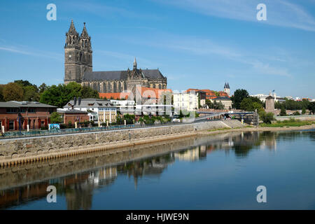 Magedeburg Cathedral on the Elbe, Magdeburg, Saxony-Anhalt, Germany - Stock Photo