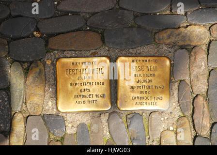 'Stumbling blocks' Freiburg im Breisgau Baden Wuerttemberg Germany - Stock Photo