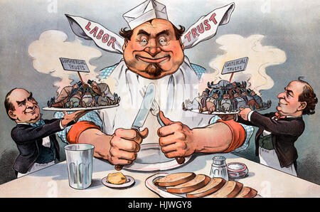 The promised feast - Political cartoon shows President William McKinley, on the left, offering up a steaming plate - Stock Photo