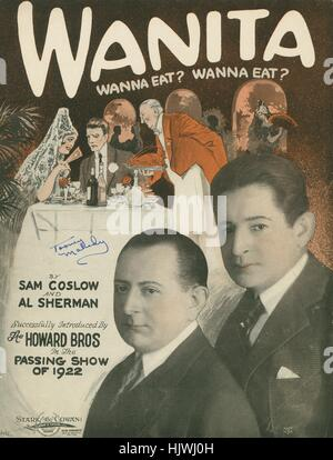 Sheet music cover image of the song 'Wanita (Wanna Eat? Wanna Eat?)', with original authorship notes reading 'by - Stock Photo