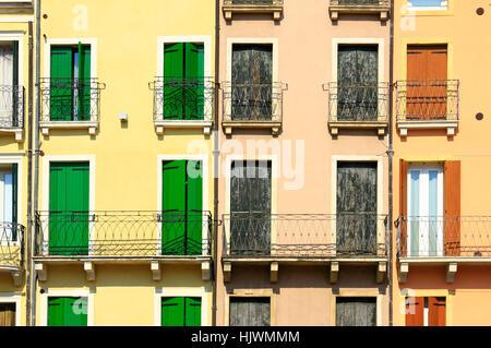window, porthole, dormer window, pane, balcony, facade, typical, italian, - Stock Photo