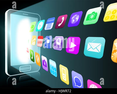 Holographic applications coming out from a smartphone on black background - Stock Photo