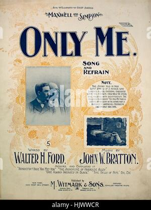 Sheet music cover image of the song 'Only Me Song and Refrain', with original authorship notes reading 'Words by - Stock Photo