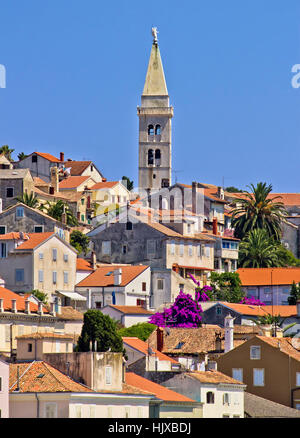Colorful adriatic town of Losinj church and architecture, vertical view - Stock Photo