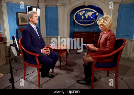 U.S. Secretary of State John Kerry before a post- speech interview with NBC News Chief Foreign Affairs Correspondent/anchor - Stock Photo