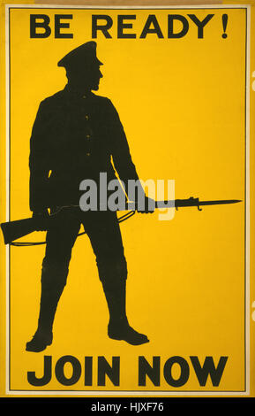 Silhouette of Soldier with Rifle and Bayonet, 'Be Ready! Join Now', World War I Recruitment Poster, Parliamentary - Stock Photo