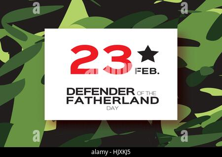 Happy Defender of the Fatherland day. 23 February Greeting card for men on military background . The Day of Russian - Stock Photo