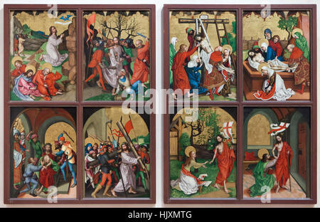 Two wings of the altarpiece from circa 1480 by German Renaissance painter Martin Schongauer from the Dominican Church - Stock Photo
