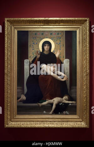 Painting The Virgin of Consolation (1877) by French academic painter William-Adolphe Bouguereau on display in the - Stock Photo