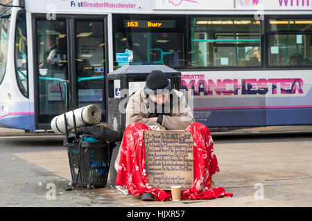 Homeless, unemployed  man with cardboard sign, poverty, poor, help me, beggars, white, beggar, commerce, street - Stock Photo