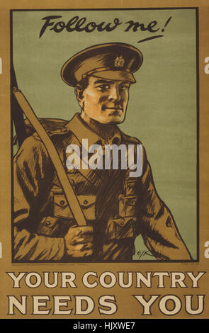 Portrait of Soldier, 'Follow Me! Your Country Needs You', World War I Recruitment Poster, Parliamentary Recruiting - Stock Photo
