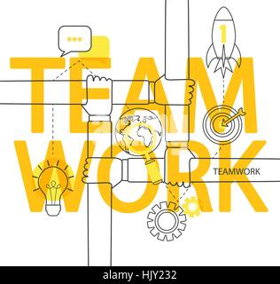 Modern thin line infographic of teamwork concept. For web, internet, mobile apps, interface design. - Stock Photo