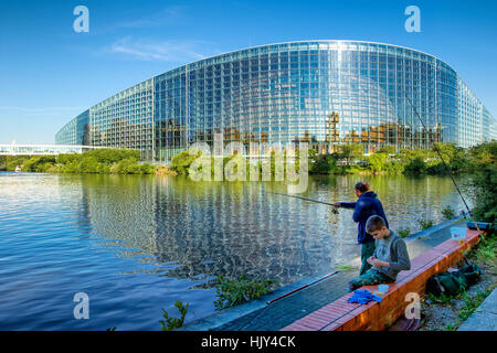 European Parliament building in Strasbourg - Stock Photo