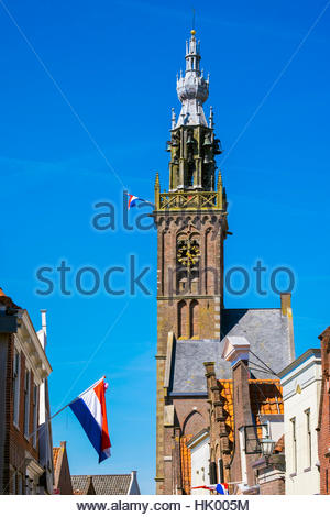 Netherlands, North Holland, Edam. The Speeltoren (Carillon Tower) bell tower, built in 1561. - Stock Photo