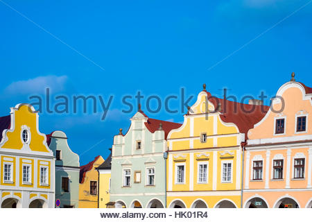 Czech Republic, Vysocina Region, Telč. Facades of Renaissance and Baroque houses on Namesti Zachariase z Hradce - Stock Photo