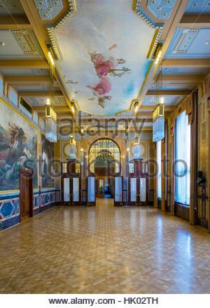 Czech Republic, Prague, Stare Mesto (Old Town). Municipal House (Obecni dum) which houses Smetana Hall. - Stock Photo