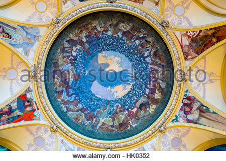 The Mucha Room at Municipal House (Obecni dum), designed entirely by Alphonse Mucha in Czech Art Nouveau style. - Stock Photo