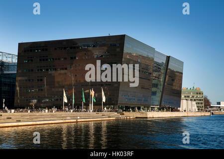 Denmark, Copenhagen, Chriistans Brygge, Slotsholmen, Royal Library, Det Kongelige Bibliotek, the Black Diamond, - Stock Photo