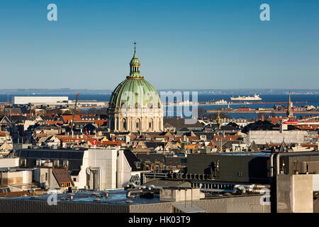 Denmark, Copenhagen, Green dome of Frederiks Kirke, Marble Church, elevated view from Christianborg Palace tower - Stock Photo