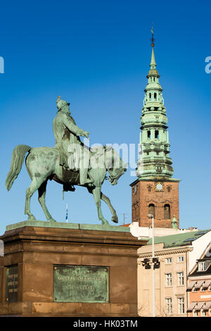Denmark, Copenhagen, Christiansborg Palace, statue of King Frederick VII on horseback - Stock Photo