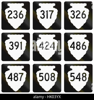 Collection of Montana Secondary Highway route shield. - Stock Photo