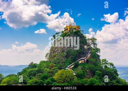 Taung Kalat Monastery on Mt. Popa, Myanmar. - Stock Photo