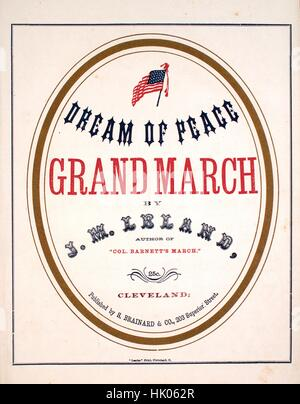 Sheet music cover image of the song 'Dream of Peace Grand March', with original authorship notes reading 'By JM - Stock Photo